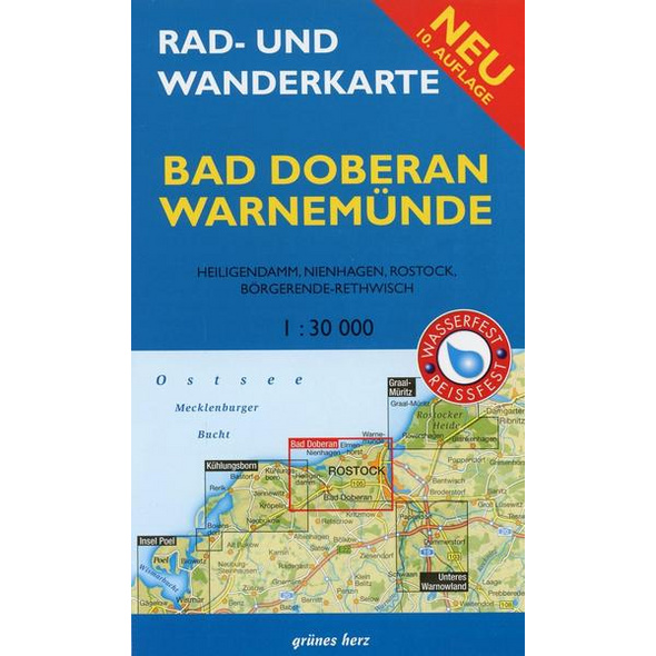 Rad- und Wanderkarte Bad Doberan, Warnemünde 1 : 30 000