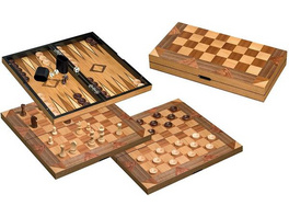 Philos 2522 - Schach Backgammon Dame Set, Feld 43 mm, Königshöhe 77 mm,